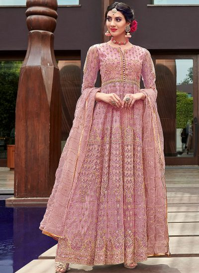 Pink and Gold Embroidered Anarkali Gown