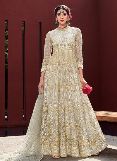Cream and Gold Embroidered Anarkali Gown