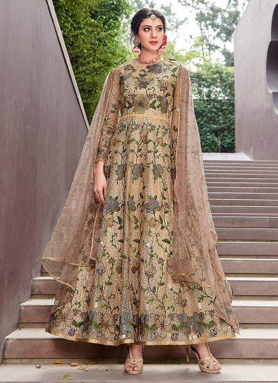 Beige Floral Embroidered Anarkali Gown