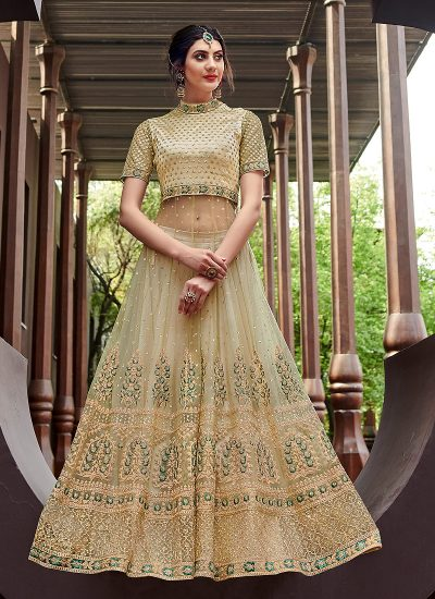 Light Green and Gold Embroidered Lehenga