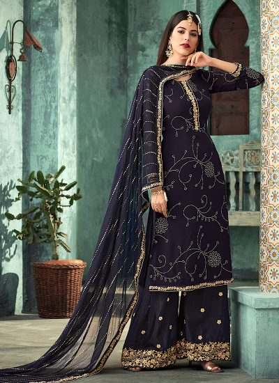 Navy Blue and Gold Embroidered Plazzo Suit