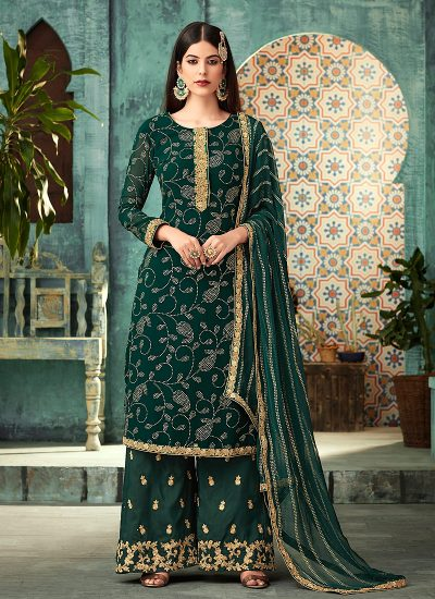 Green and Gold Embroidered Plazzo Suit