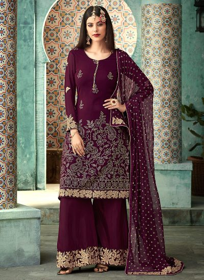 Magenta and Gold Embroidered Plazzo Suit