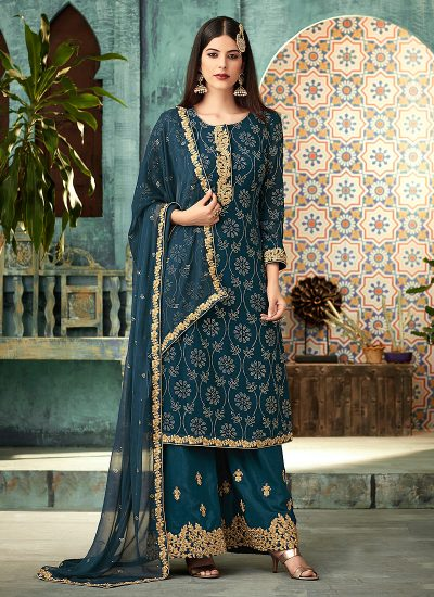 Teal and Gold Embroidered Plazzo Suit
