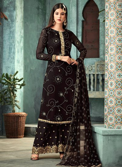 Black and Gold Embroidered Plazzo Suit