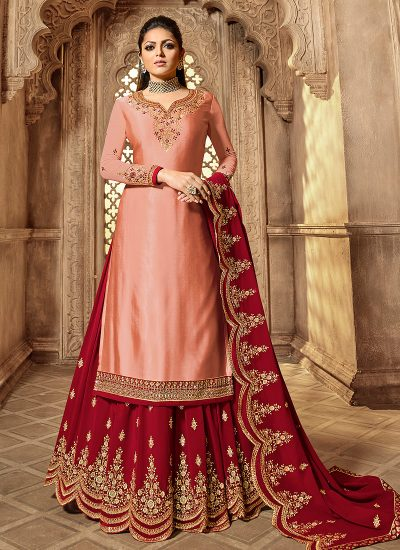 Peach and Red Embroidered Lehenga/ Straight Suit
