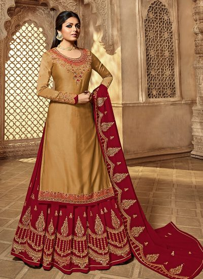 Beige and Red Embroidered Lehenga/ Straight Suit