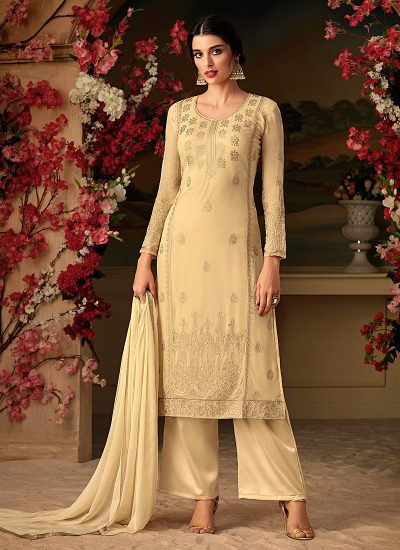 Light Yellow Embroidered Straight Cut Suit