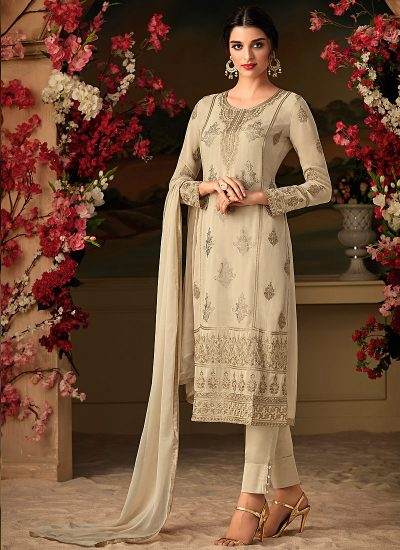 Light Grey Embroidered Straight Pant Suit