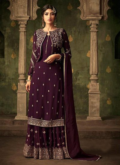 Purple Embroidered Jacket Style Plazzo Suit