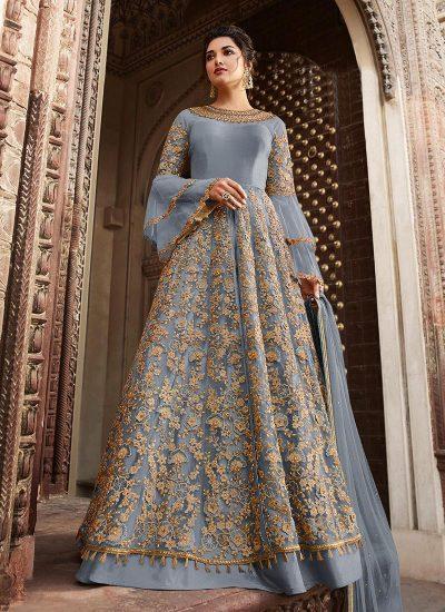 Blue Grey Embroidered Lehenga / Pant Style Anarkali