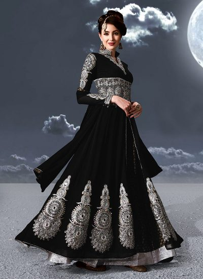 Black and Silver Embroidered Anarkali