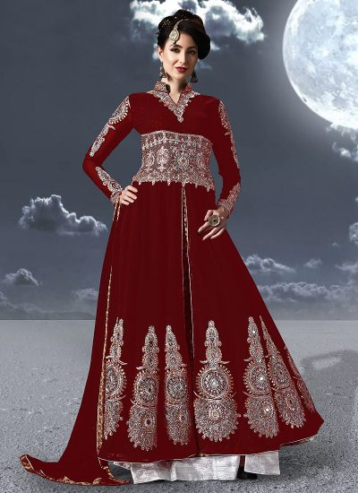 Red and Silver Embroidered Anarkali