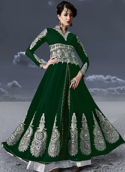 Green and Silver Embroidered Anarkali