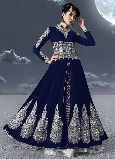 Blue and Silver Embroidered Anarkali