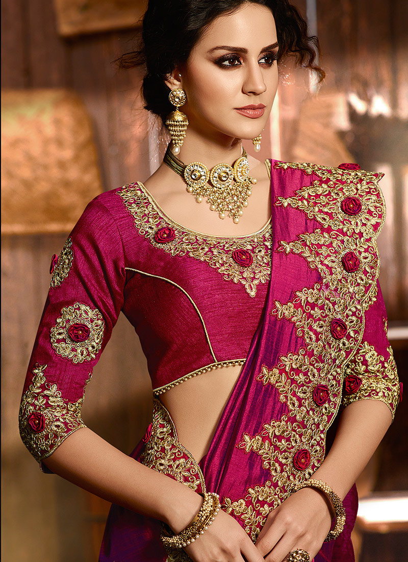 Magenta and Gold Embroidered Saree
