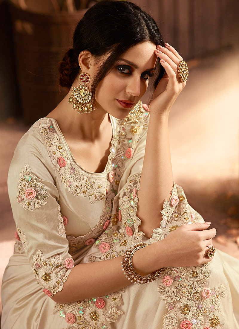 Offwhite Floral Embroidered Saree