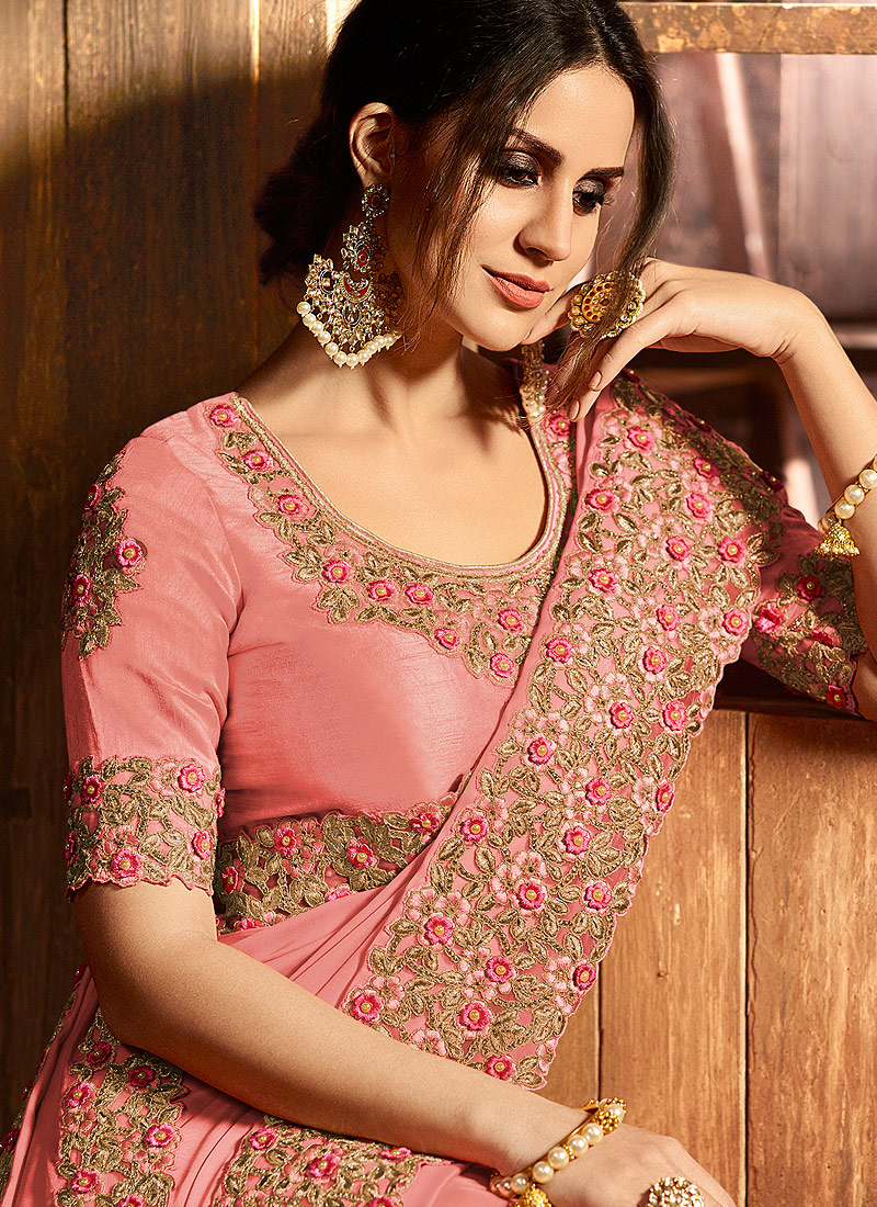 Pink and Gold Embroidered Saree