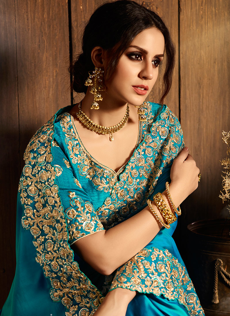 Teal and Gold Embroidered Saree