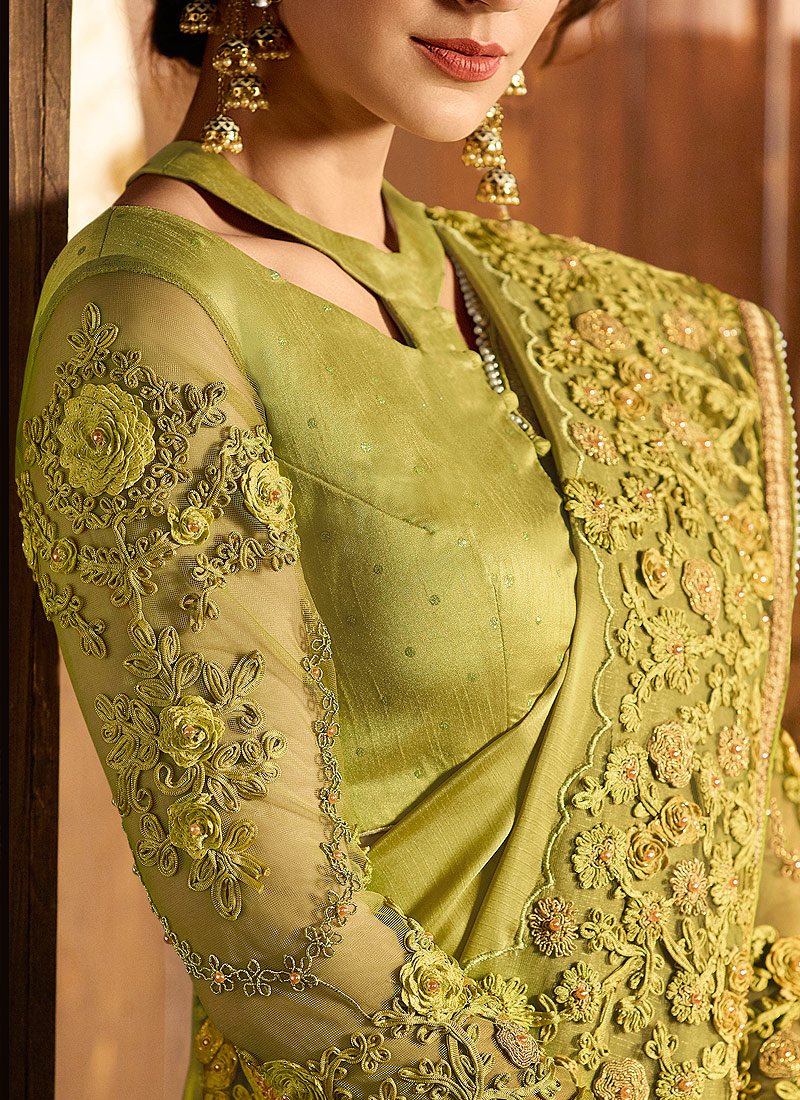 Green Floral Embroidered Saree