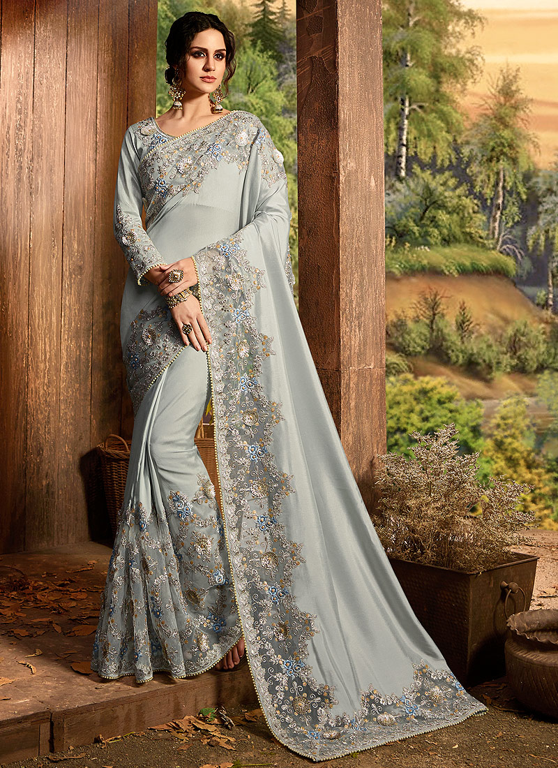 Grey Embroidered Saree