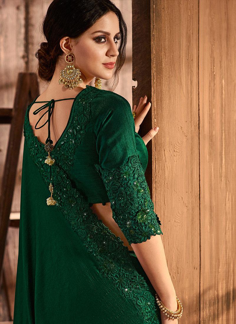 Dark Green Embroidered Saree