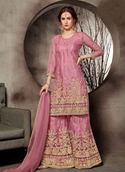 Pink and Gold Embroidered Plazzo Suit