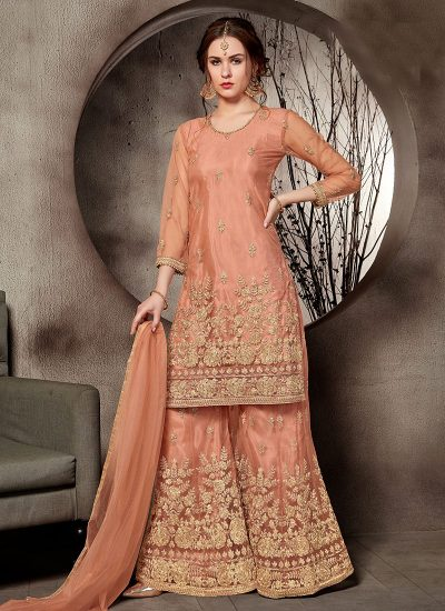Peach and Gold Embroidered Plazzo Suit