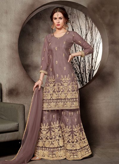 Brown and Gold Embroidered Plazzo Suit