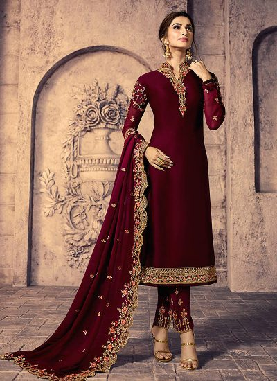 Red and Gold Embroidered Straight Pant Suit