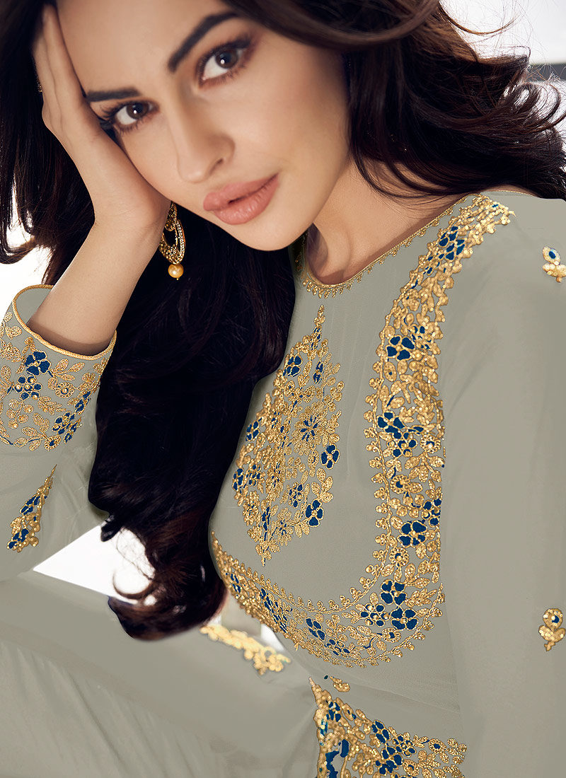 Grey and Gold Embroidered Pant Style Anarkali