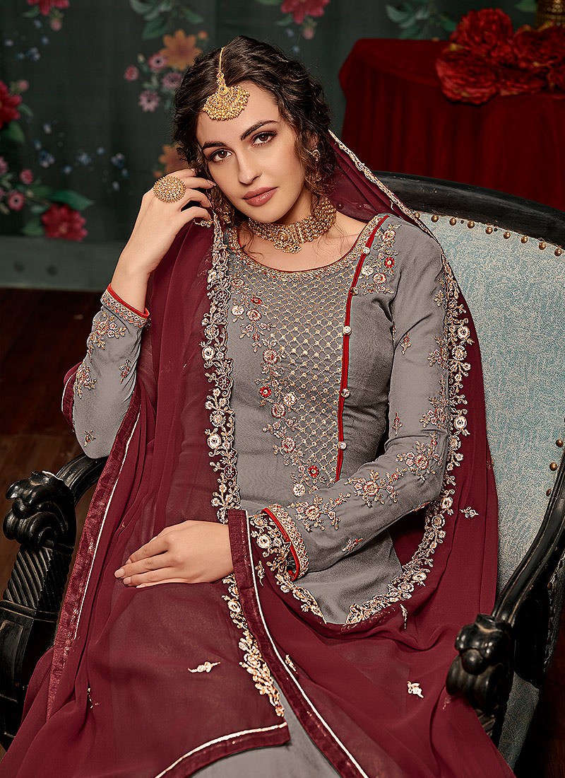 Grey and Maroon Embroidered Gharara Suit