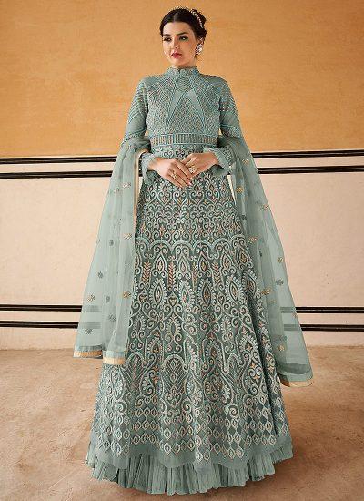 Blue Grey Embroidered Anarkali