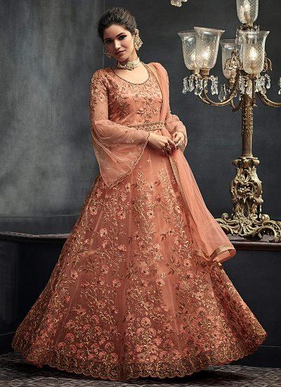 Peach Heavy Embroidered Anarkali