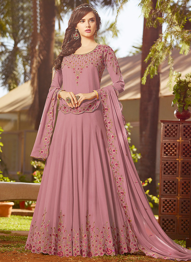 Light Pink Floral Embroidered Anarkali