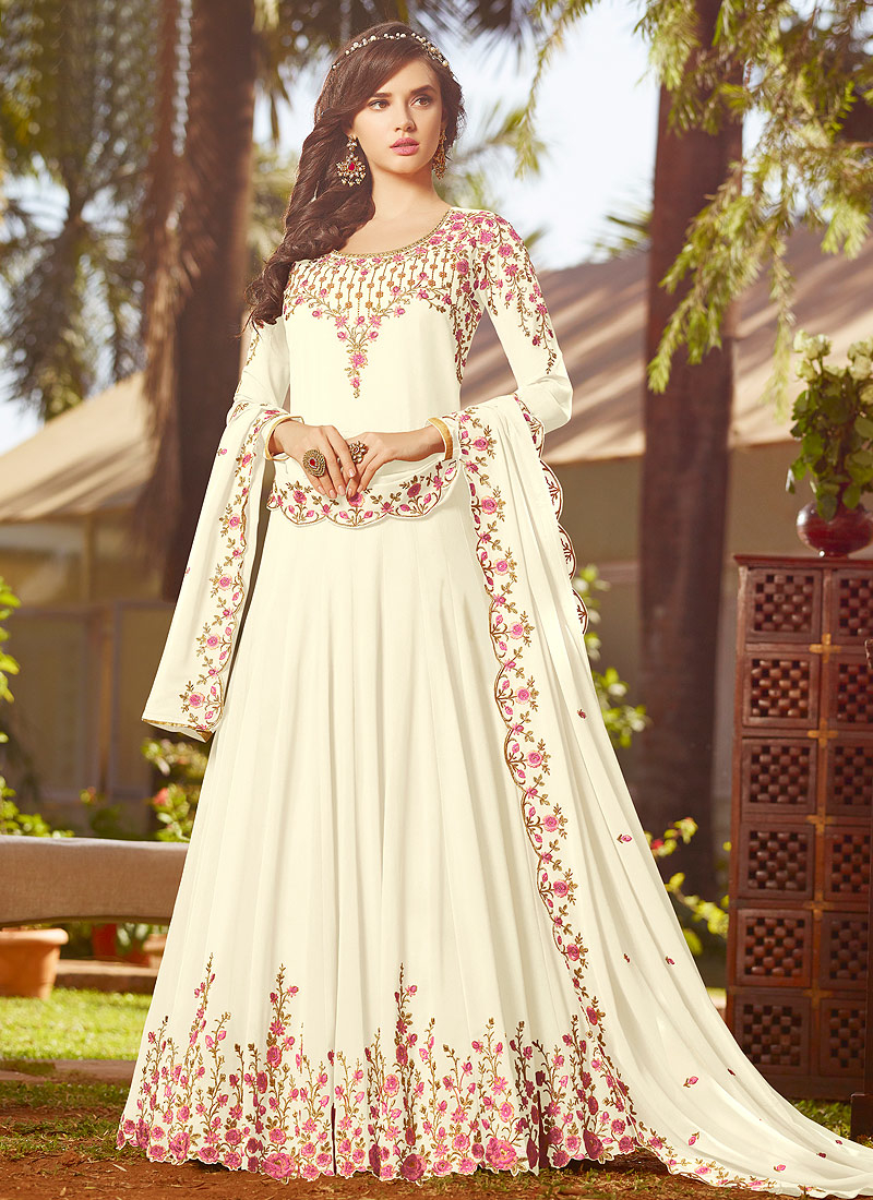White Floral Embroidered Anarkali