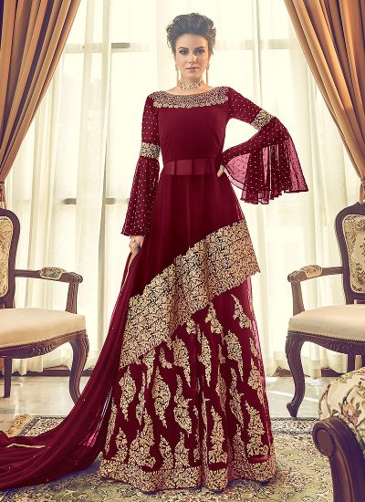 Red and Gold Embroidered Sharara Suit