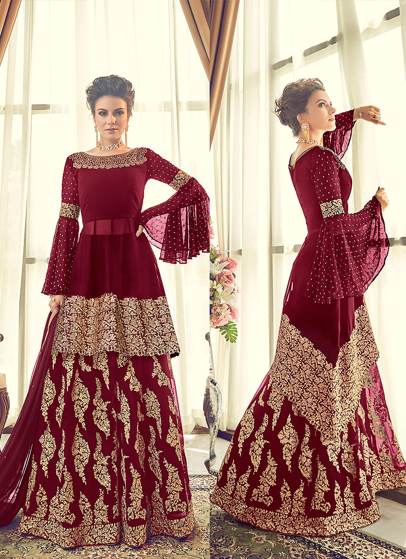 Red and Gold Embroidered Sharara Suit – Falakenoor Boutique
