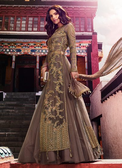 Brown Embroidered Lehenga Anarkali
