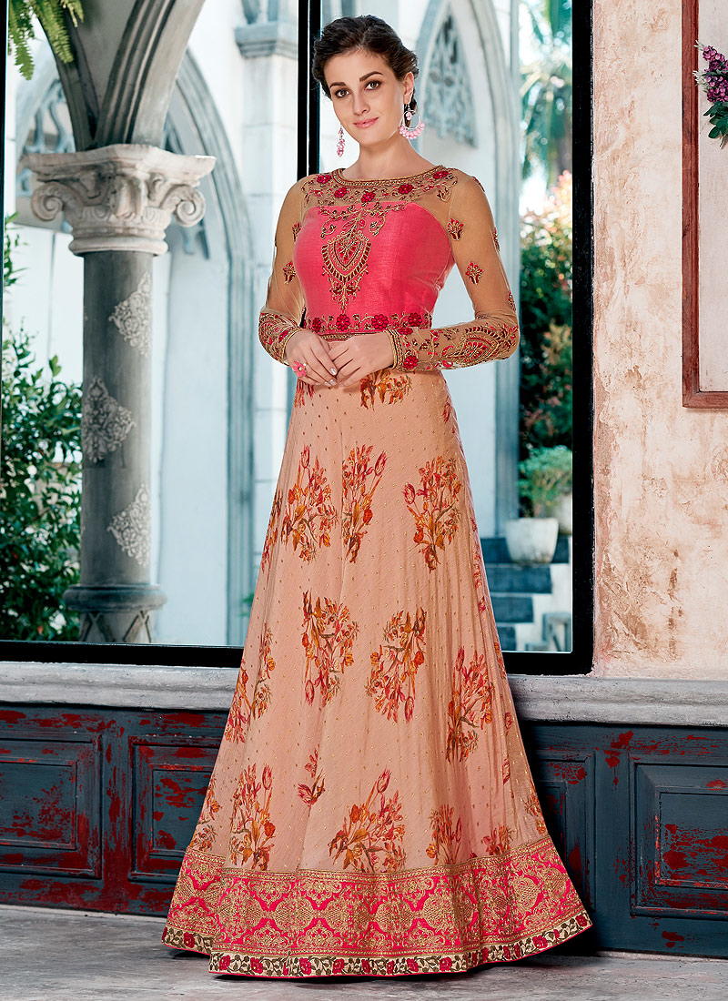Light Peach and Pink Embroidered Lehenga/ Gown
