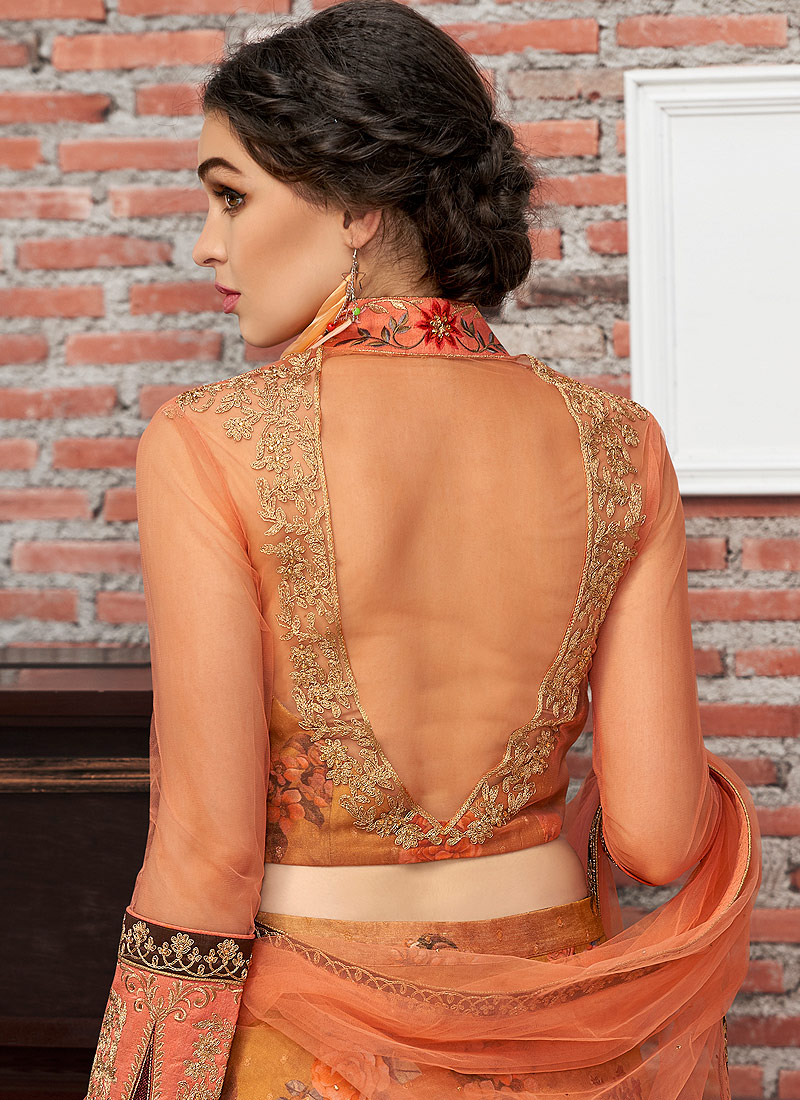 Mustad and Orange Embroidered Lehenga/ Gown