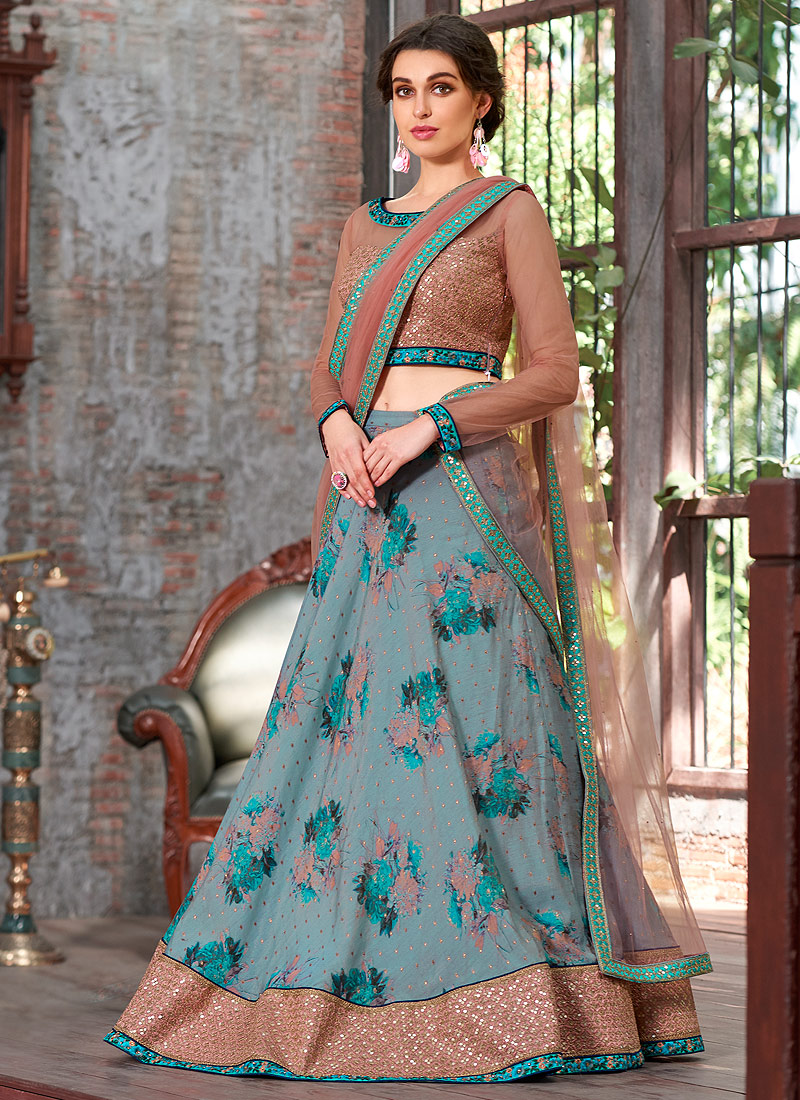 Light Blue and Pink Embroidered Lehenga/ Gown