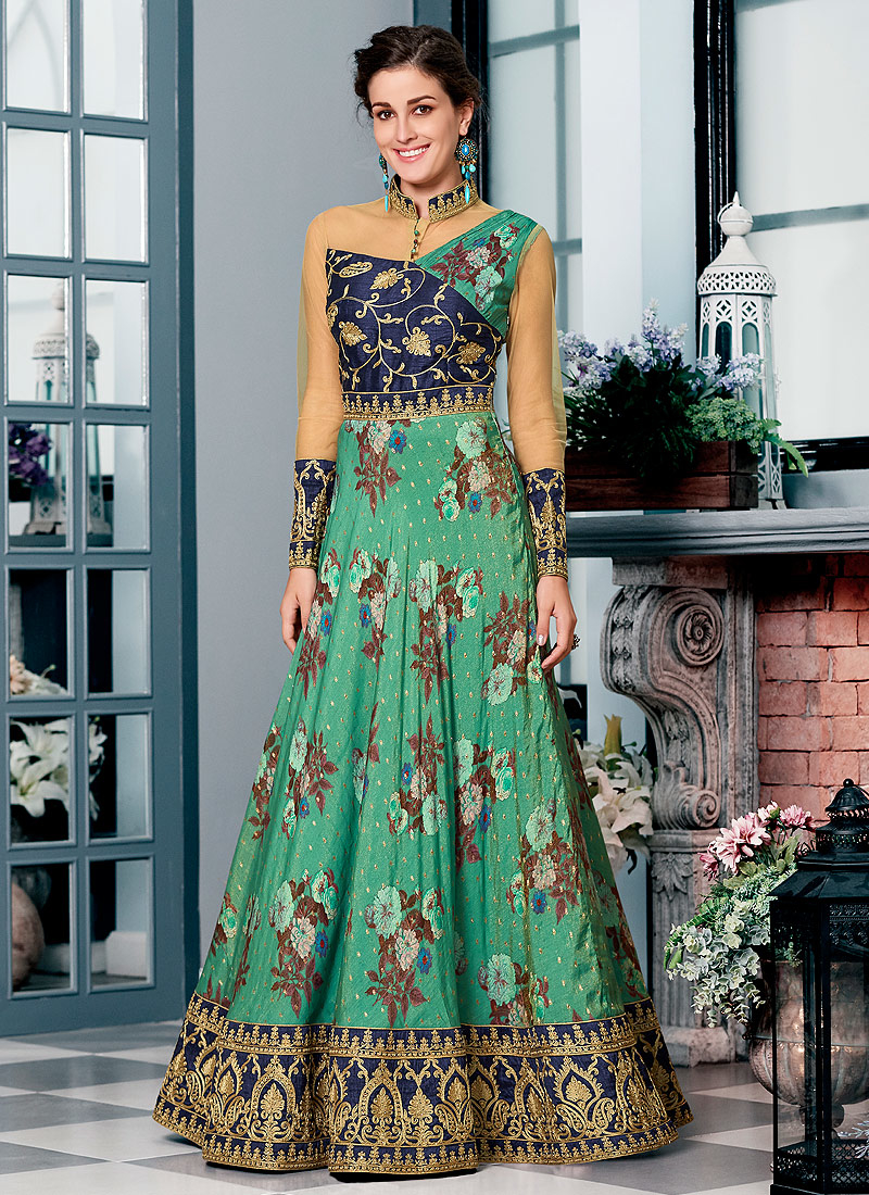 Green and Blue Embroidered Lehenga/ Gown