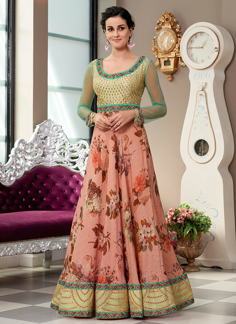 Light Pink and Green Embroidered Lehenga/ Gown