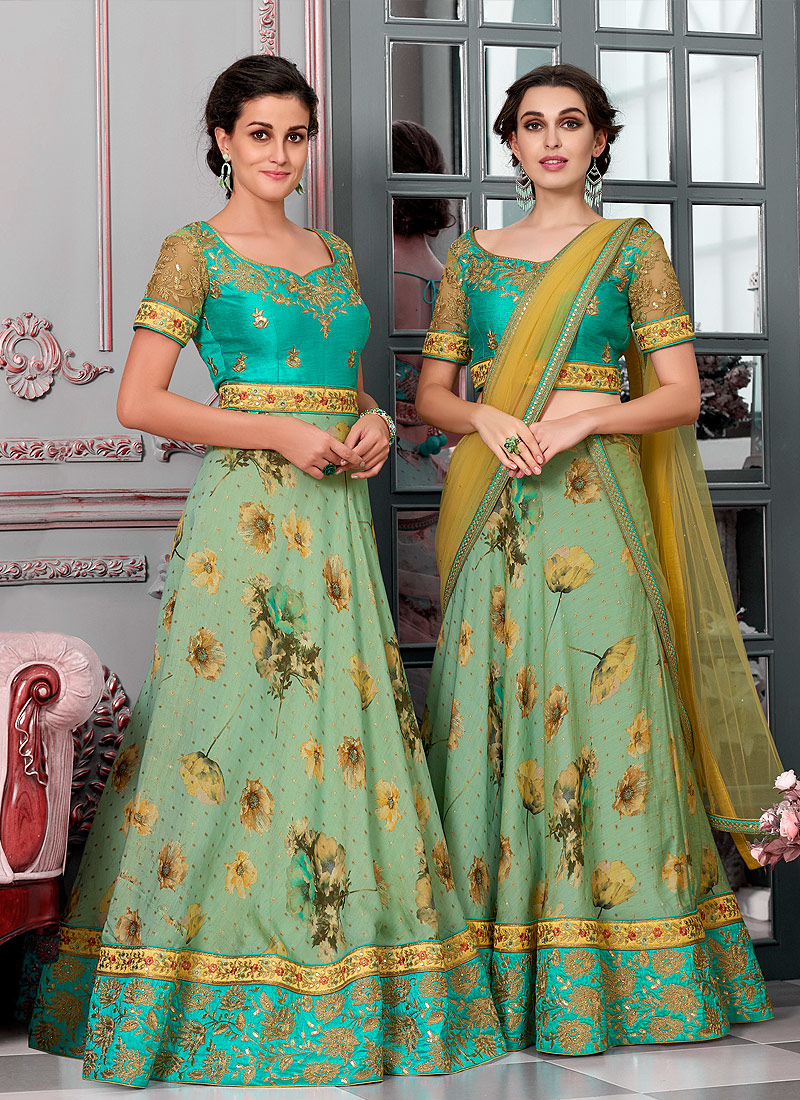 Aqua and Sea Green Embroidered Lehenga/ Gown