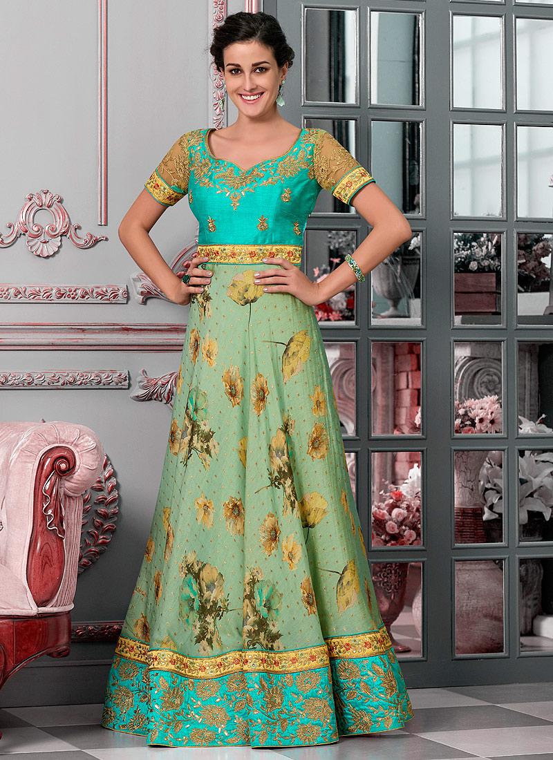 Aqua and Sea Green Embroidered Lehenga/ Gown