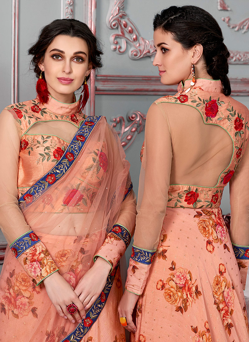 Peach Embroidered Lehenga/ Gown