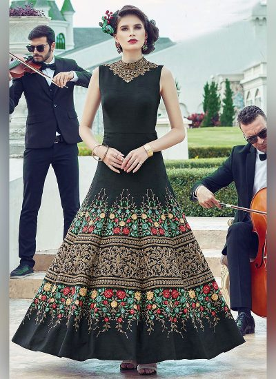 Black Floral Embroidered Anarkali Gown