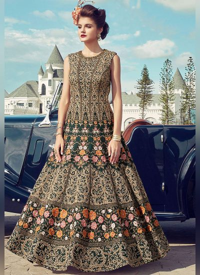 Green Floral Embroidered Anarkali Gown