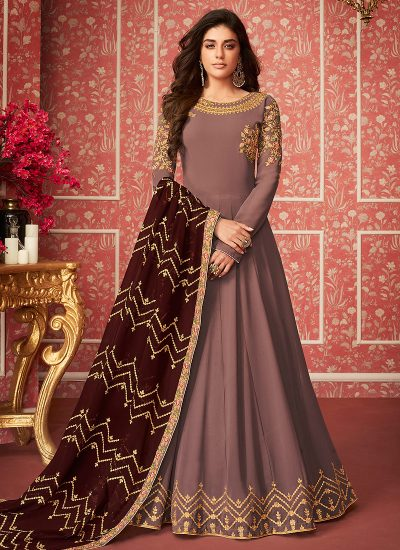 Muave Purple Embroidered Anarkali